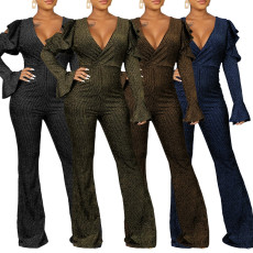 Fashionable V-neck gold and silver silk striped Jumpsuit