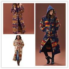 Patchwork long sleeve Hoodie print coat