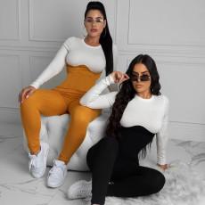 Fashionable sexy pit stripe Jumpsuit
