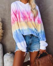 Fashion tie dye hooded long sleeve top