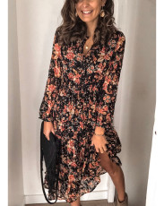 Printed long sleeve lined dress