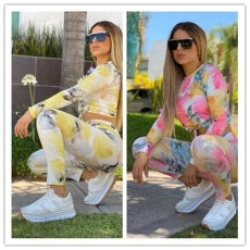 Tie dye round neck long sleeve casual suit