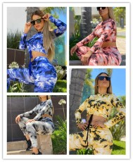 Leisure sports tie dye thickened long sleeve suit