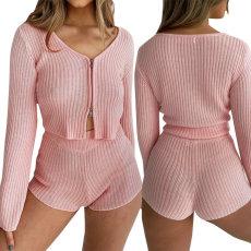 Zipper casual Shorts Set