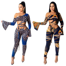 Leopard print two piece set of flared sleeve strap