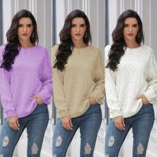 Wave print over solid color crew neck Pullover
