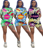 Two piece set of printed cartoon colorful T-shirt
