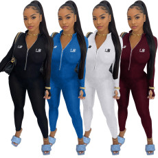 Embroidered letter zipper home sportswear Jumpsuit pants