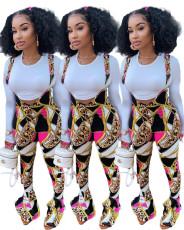 Fashionable printed trumpet slim back Pants Set