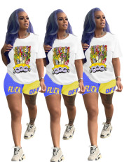 Two piece cartoon printed T-shirt set