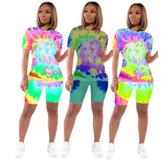 Cartoon printed T-shirt casual two piece set