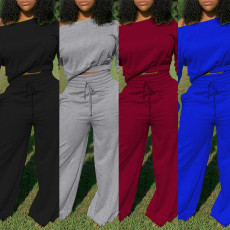 Solid color sweater double cuff knot wide leg pants casual suit