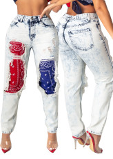 Personalized print patchwork burnt jeans
