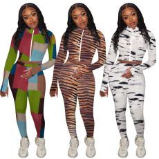 Colorful animal print finger coat sports pants set