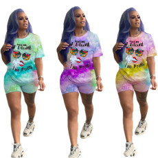 Two piece letter printed T-shirt set