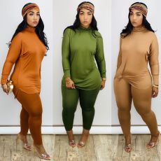 Two piece set with high collar and loose long sleeve and slit