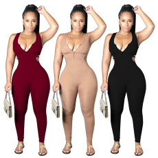 Fashion casual back strap on Jumpsuit