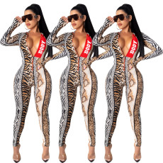 Fashion print zipper Jumpsuit