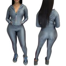 Elastic cardigan suit