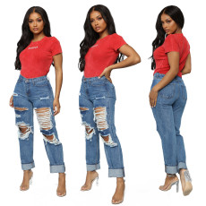 Trendy baggy straight pants with holes washed jeans