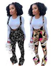 Fashionable print flared slim back pants