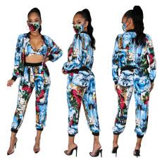 Fashion printing sexy suit mask 4-piece set