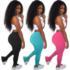 Skinny high waisted side flared pants