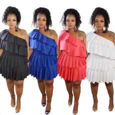 Fashion solid color pleated skirt shoulder dress