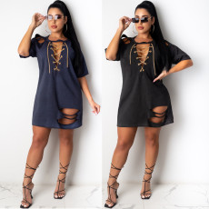 Loose and fashionable t-sleeve sexy dress with holes