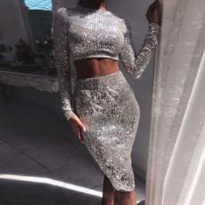 Two piece sexy hip wrap A-line skirt