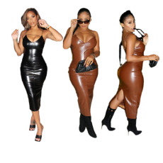 Fashionable black classic leather dress