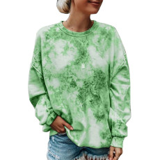 Tie dyed loose Crew Neck Long Sleeve Top