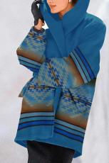 Long sleeve Hoodie printed woolen coat