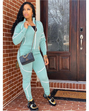 Leisure solid sports suit long sleeve two piece set