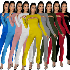 Solid color tight high stretch Jumpsuit
