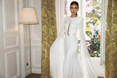 Simple white strapless evening dress