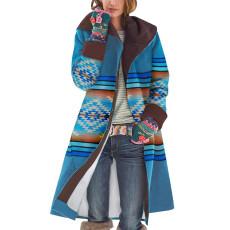 Sleeve coat printing and splicing long woolen coat