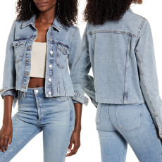 Sexy fashion versatile short denim jacket top