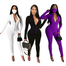 Fashion tight solid color Jumpsuit + mask