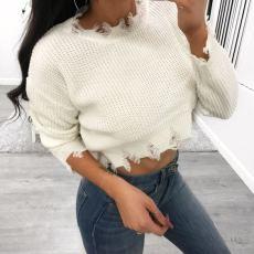 Crew neck short long sleeve sweater top