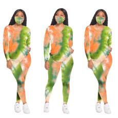 Casual tie dye round neck home sports suit + mask