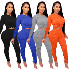 Double pleated leisure two piece set