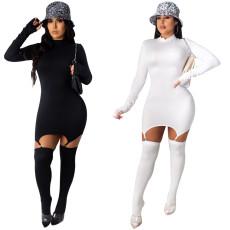High round neck zipper long sleeve glove sock dress