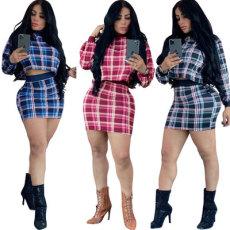 Casual fashion slim Plaid Print Skirt Set