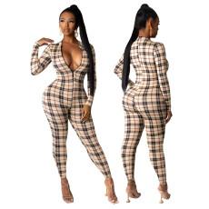 Fashionable Plaid print slim Jumpsuit