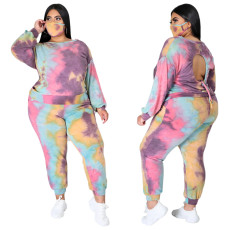 Printed long sleeve crew neck Pants Set (without mask)