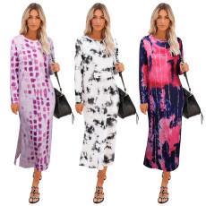 Fashion long sleeve Tie Dye Dress