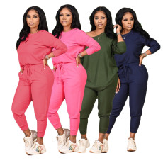 Solid color crew neck loose two piece set