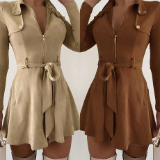 Solid color high waist lace up long sleeve slim dress