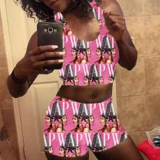 Sexy pattern print vest Shorts Set